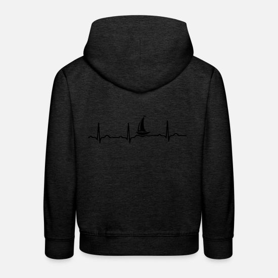 Bass Hoodies & Sweatshirts - ECG HEART BOAT SAILING SHIP YACHT Black - Kids' Premium Hoodie charcoal grey