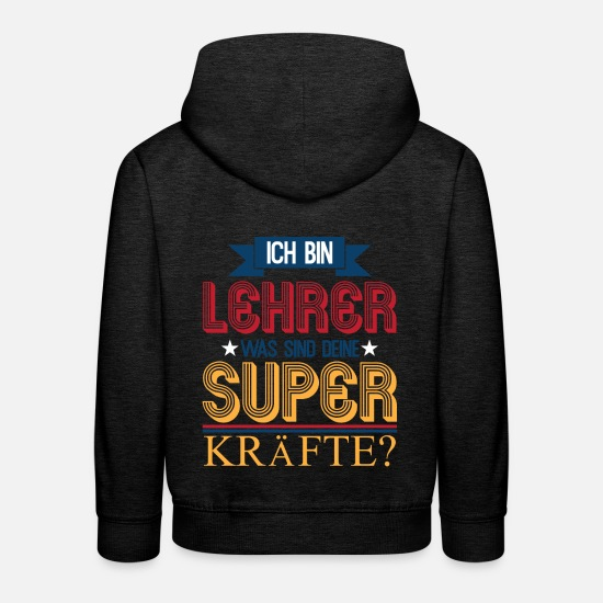 Gift Idea Hoodies & Sweatshirts - Teacher with super power recognition saying - Kids' Premium Hoodie charcoal grey