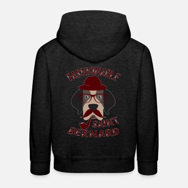 Dog Fashion Saint Bernard Dog Fashionable Vintage Hipster - Kids' Premium Hoodie