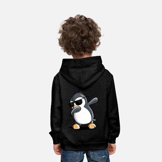 Animal Hoodies & Sweatshirts - Cool Dab Dance Penguin With Sunglasses Dabbing - Kids' Premium Hoodie charcoal grey
