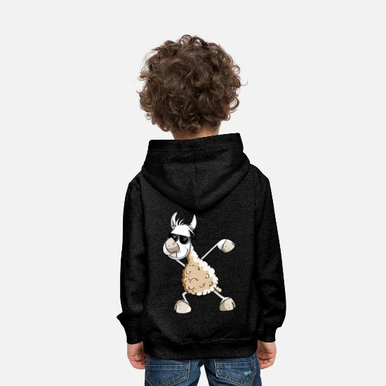 Humour Sweat-shirts - Cool Dab Dance Lama - Dabbing Alpaga - Comic Fun - Sweat à capuche premium Enfant charbon
