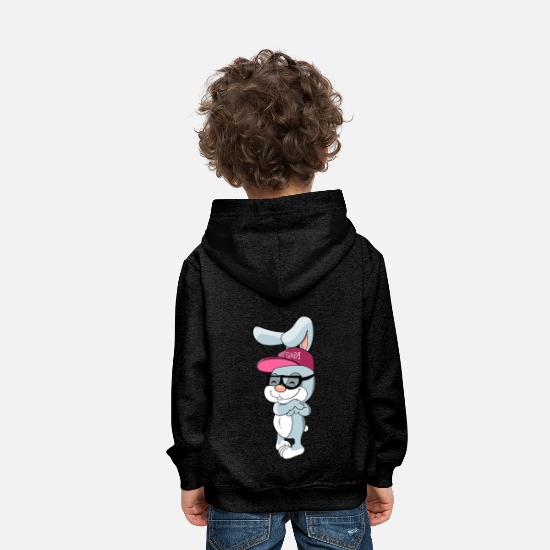 Pet Hoodies & Sweatshirts - Cool bunny rabbit with cap and glasses - Kids' Premium Hoodie charcoal grey