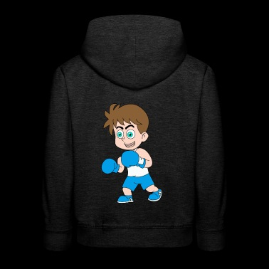 Cartoon boy boxer boxing gloves blue gift - Kids' Premium Hoodie