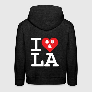 I love LA three helmets in the heart (white helmets) - Kids' Premium Hoodie