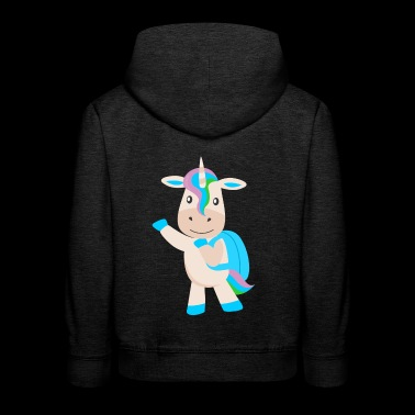 unicorn with backpack - Kids' Premium Hoodie