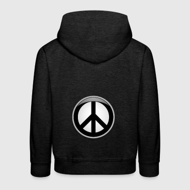Peace button large - Kids' Premium Hoodie