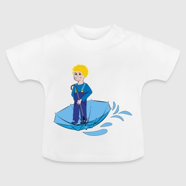 child with umbrella, funny drawings - Baby T-Shirt