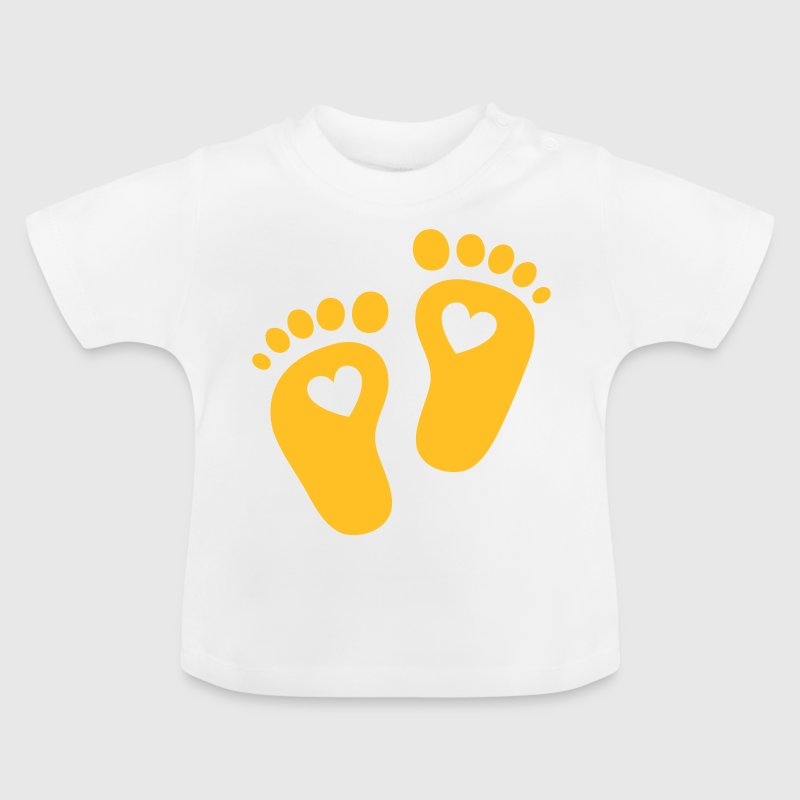 Baby feet, heart, birth, gift, mom, pregnancy - Baby T-Shirt