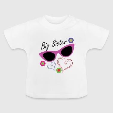 Big Brother Big Sister Big Sister Flowers Hearts - Baby T-Shirt