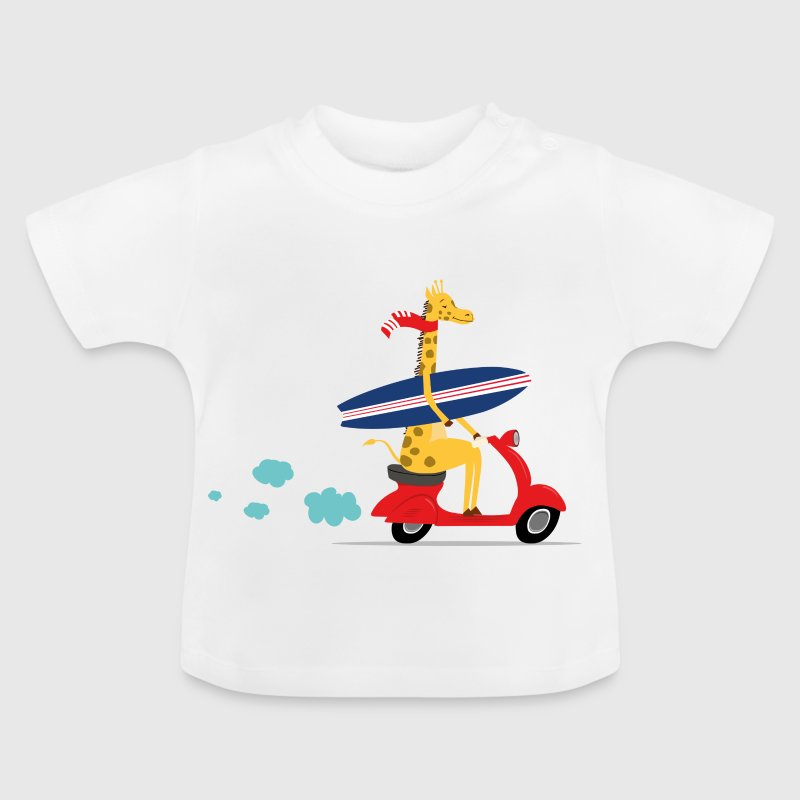 Giraffe riding Vespa - Baby T-Shirt