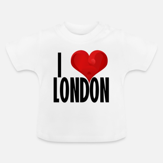 London Baby Clothes - I LOVE LONDON black - Baby T-Shirt white