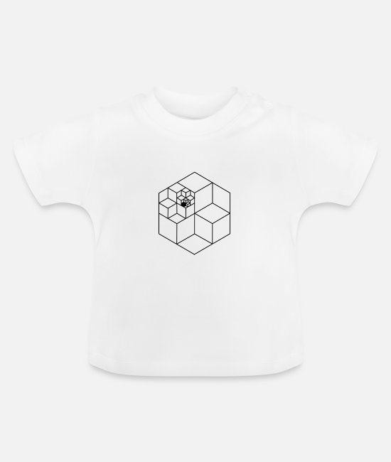 Black Red Gold Baby T-Shirts - Infinity cube black pattern - Baby T-Shirt white