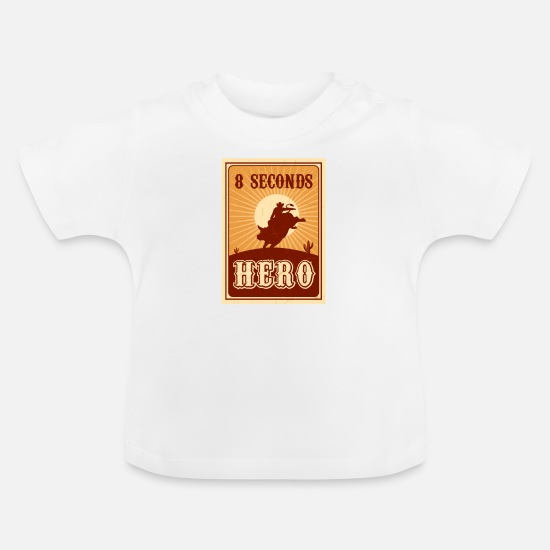 Cowboy Babyklær - Bull Riding 8 Seconds Hero Vintage Rodeo Retro Cow - Baby T-skjorte hvit