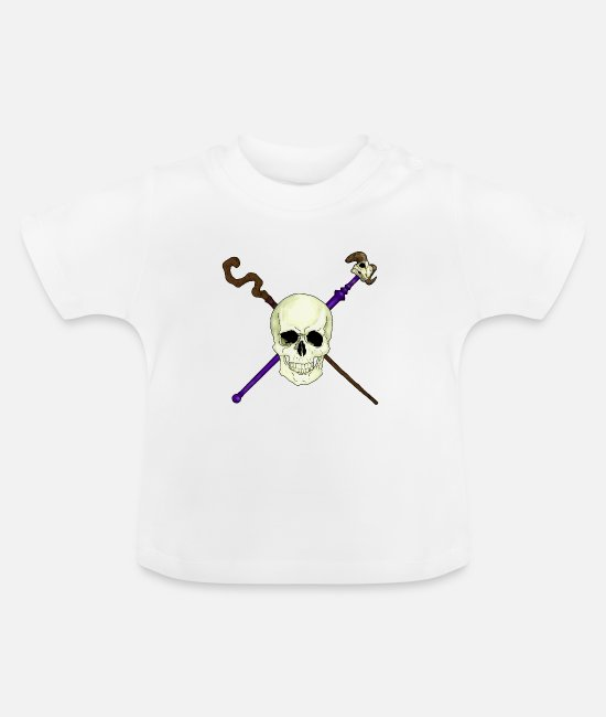 Sorcerer Baby Clothes - crossed staffs skull - Baby T-Shirt white