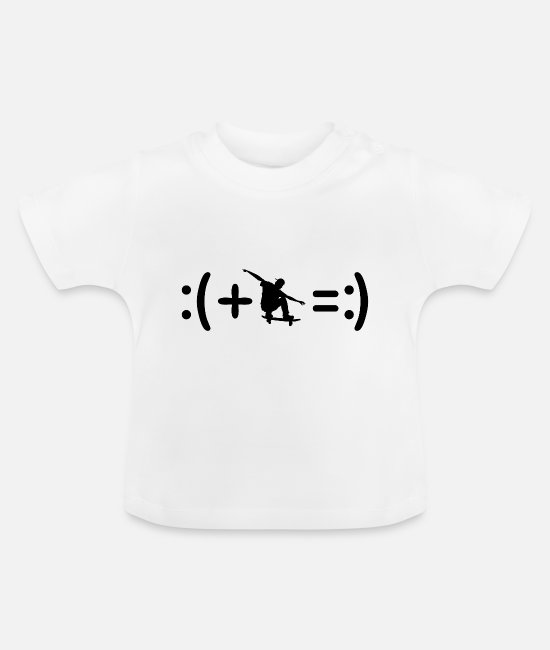 Luck Baby Clothes - Skating Happiness Equation - Baby T-Shirt white