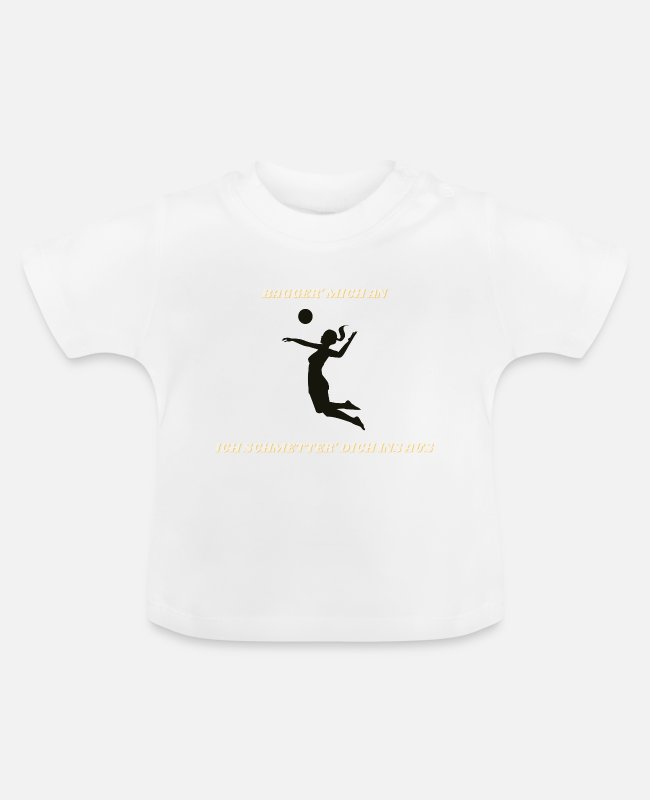 Training Baby T-Shirts - Volleyball player block smack attack - Baby T-Shirt white