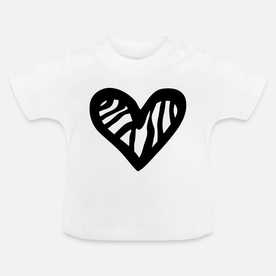 Heart Baby Clothes - Heart Zebra - Baby T-Shirt white
