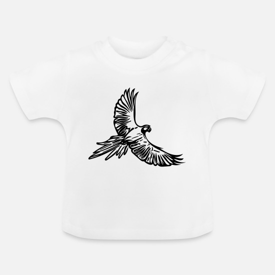South America Baby Clothes - Parrot in flight - Baby T-Shirt white
