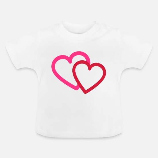 Love Baby Clothes - Valentine Love Hearts Heart - Baby T-Shirt white