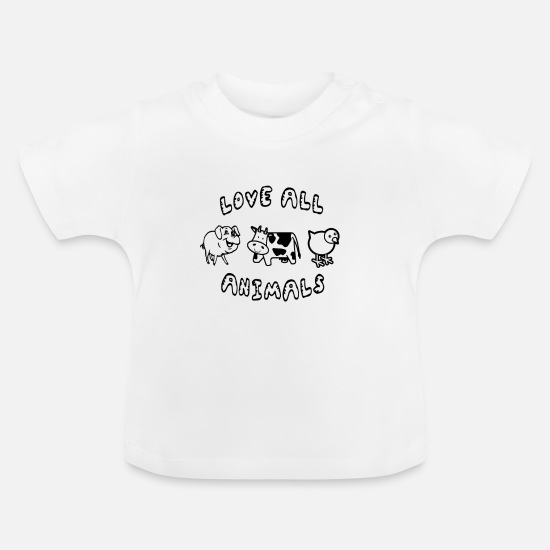 Love Baby Clothes - love ALL animals vegan - Baby T-Shirt white