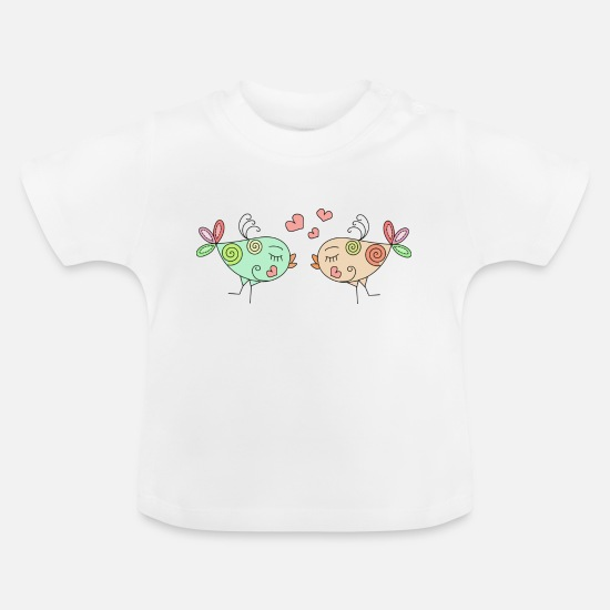 Love Baby Clothes - colourful birds in love - Baby T-Shirt white