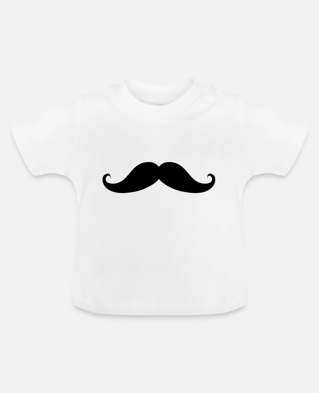 Hipster Baby T-Shirts - moustache - Baby T-Shirt Weiß