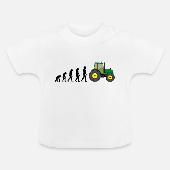Gift Idea Baby Clothes - Evolution tractor - Baby T-Shirt white