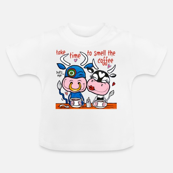 Love Baby Clothes - Amusing cows drink coffee - Baby T-Shirt white
