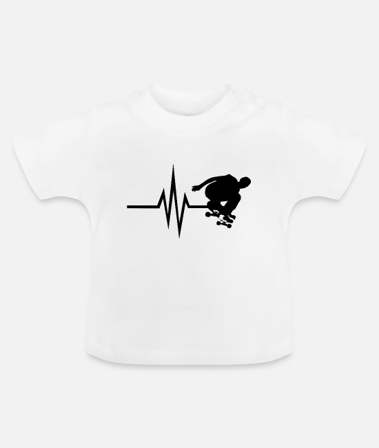 Ollie Baby Clothes - My heart beats for Skateboard - Trucks deck - Baby T-Shirt white