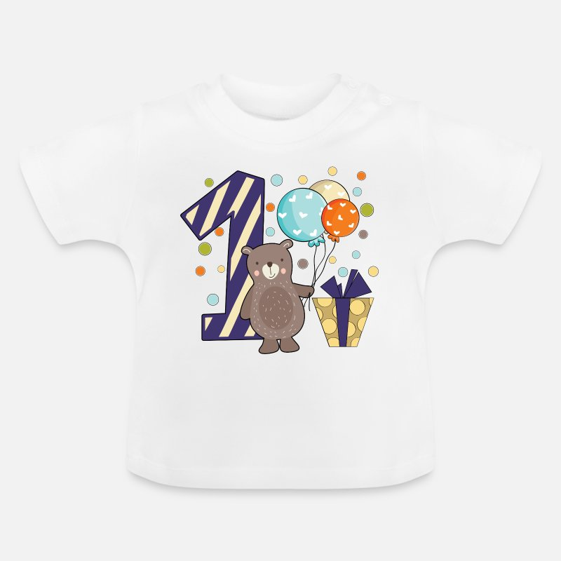 Birthday Baby Clothes - first birthday 1st one year boy gift teddy - Baby T-Shirt white