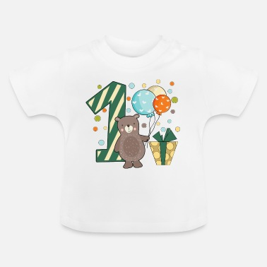 Birthday first birthday 1st one year boy gift teddy - Baby T-Shirt