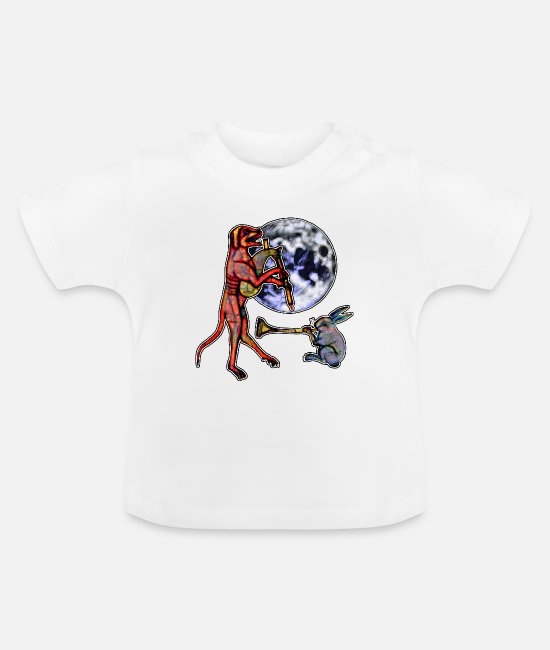 Dancing Baby Clothes - Moon Dancing Dog - Baby T-Shirt white
