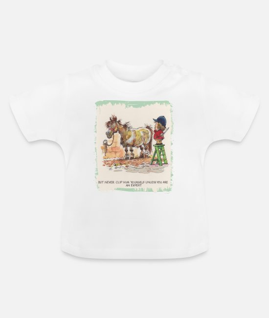 Ponny Baby shirts - Thelwell - Pony with hairdresser - Baby T-shirt wit