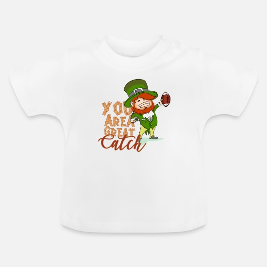 St Baby Clothes - St. Patrick's Day American Football Sports Gift - Baby T-Shirt white