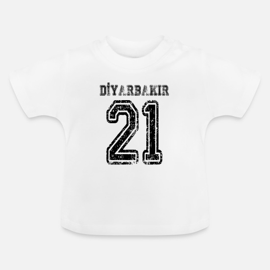 Indicator Baby Clothes - 21 Diyarbakir Turkey license plate as a gift - Baby T-Shirt white