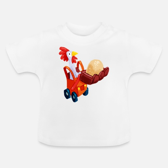 Funny Baby Clothes - Chicken in an excavator - Baby T-Shirt white