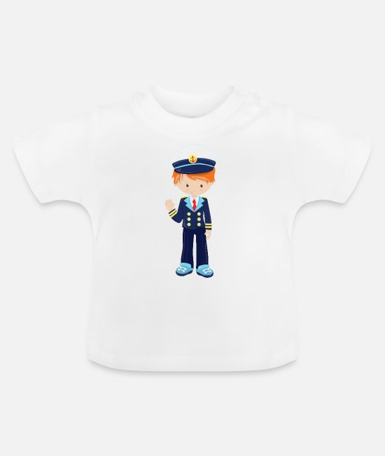 Waves Baby Clothes - young nautical officer - captain anchor uniform - Baby T-Shirt white
