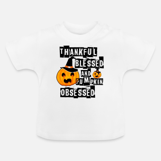 Boo Baby Clothes - Pumpkin Obsessed Halloween Jackolantern Witch Hat Light - Baby T-Shirt white