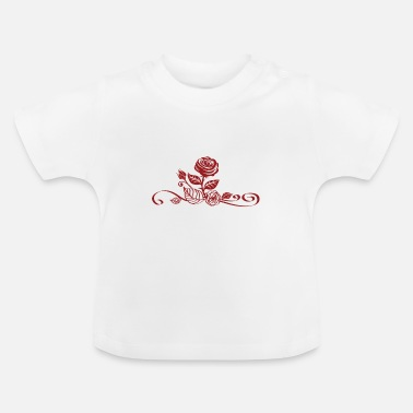 Blume rote Rose mit Ornamenten - Baby T-Shirt