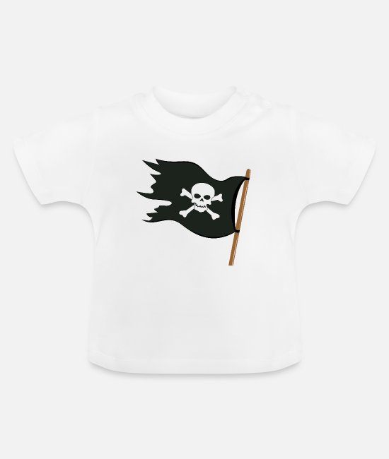 Oogklep Baby shirts - Piraten vlag - Baby T-shirt wit