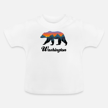 Hot Rod Washington Bear Colorful Mountains Proud Camping Vintage - Baby T-Shirt