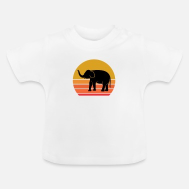 Nature Lovers Retro Sun Elephant Animal Gift Idea - Baby T-Shirt