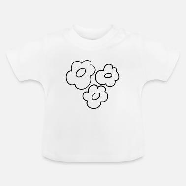 Blomster minimalistisk strektegning svart Baby T skjorte