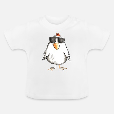 Chicken with cool sunglasses - rooster - goose - Baby T-Shirt