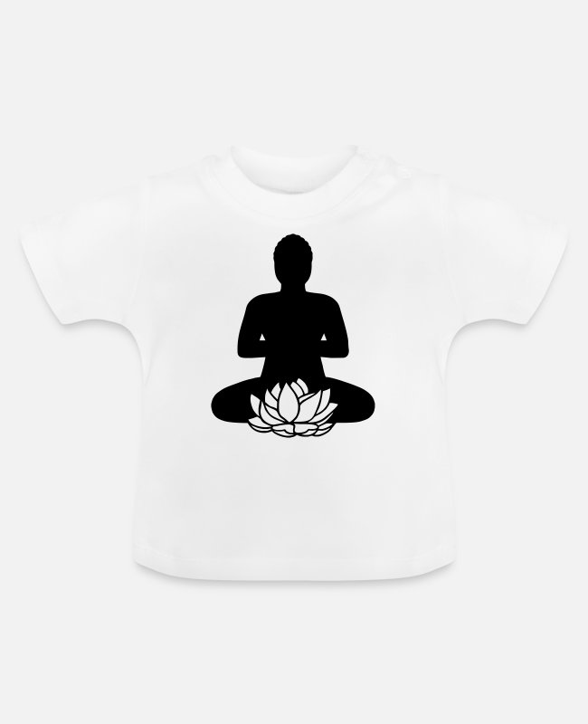 Think Baby T-Shirts - BUDDHA 2c lotus flower - Baby T-Shirt white