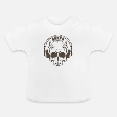 Online Gamer skull with horns and headset - Baby T-Shirt