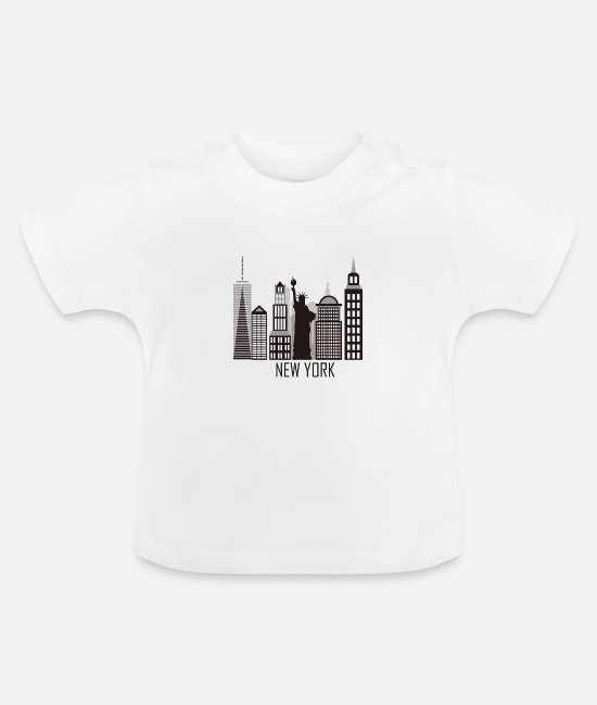 New York Baby Clothes - New York City Skyline Statue of Liberty USA - Baby T-Shirt white
