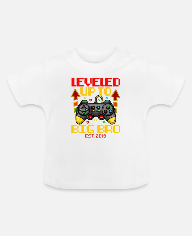 Big Baby shirts - Geboorte Big Brother T-shirt Level Up Kid Baby - Baby T-shirt wit
