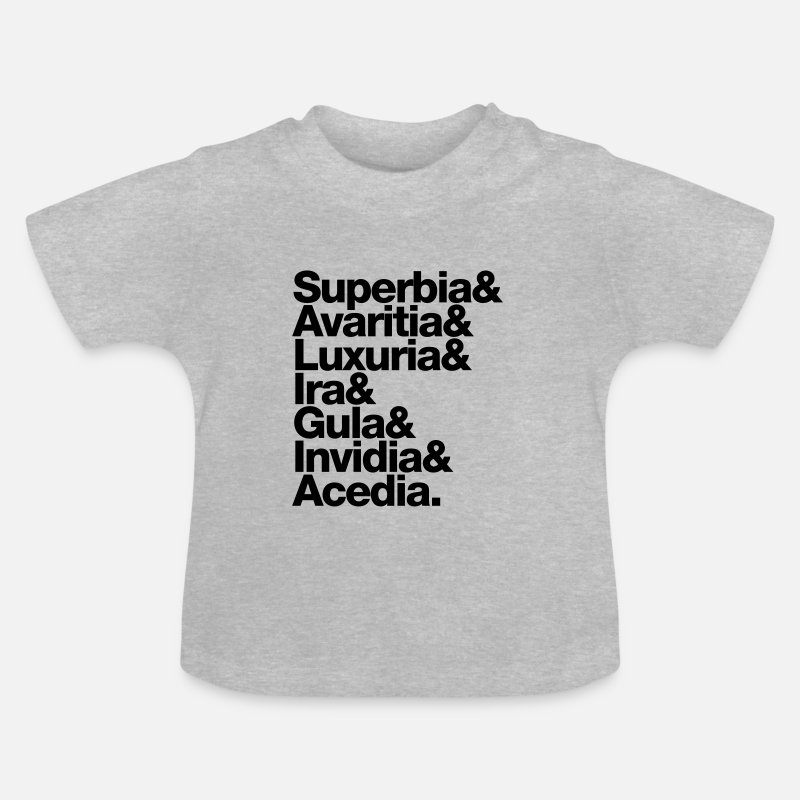 d45e1086 sieben 7 todsünden - seven deadly sins - latin latein Baby T-Shirt ...