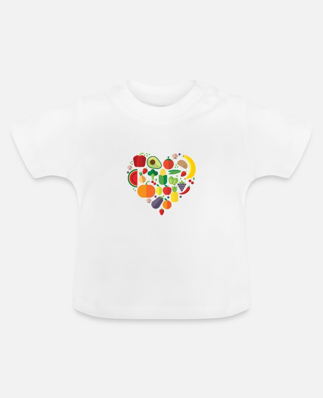 Vegetables Baby T-Shirts - Vegetable Heart Vegetarian Vegan (Veggie Heart) - Baby T-Shirt white